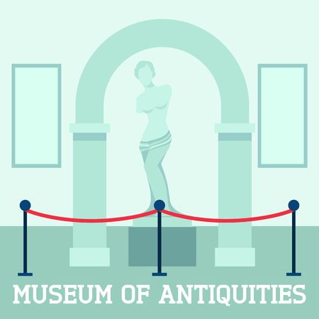 afrodita: Museo del cartel de antig�edades con la escultura de Afrodita ilustraci�n vectorial plana.