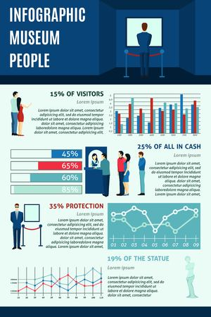 gallery: Infographic  people visiting museums  statistics data  flat  vector illustration. Illustration