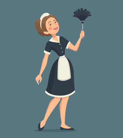 먼지 떨이의 만화 벡터 일러스트 레이 션과 함께 고전적인 유니폼 청소 웃는 여자