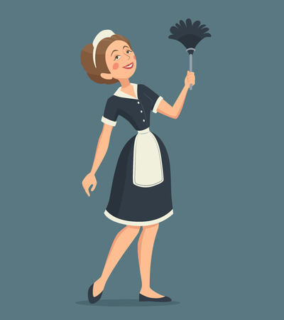 Smiling cleaning woman in a classic uniform with a duster cartoon vector illustration