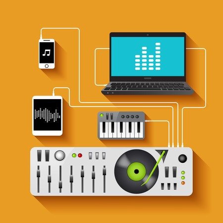 dj equipment: Dj workspace with audio equipment and music technologies vector illustration Illustration