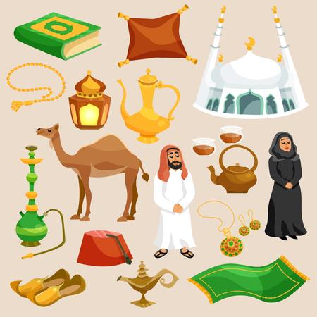 comida arabe: Cultura �rabe y oriental iconos de dibujos animados decorativos conjunto aislado ilustraci�n vectorial Vectores