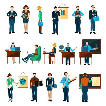 Los universitarios establecidos con el maestro y los estudiantes avatares aislados ilustración vectorial