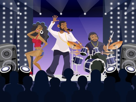 stage performance: Rap concert concept with hip-hop musicians and dancers on stage cartoon vector illustration Illustration