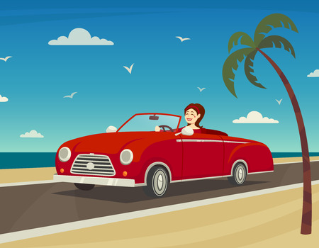 road trip: Trip to the sea background with woman driving a cabriolet cartoon vector illustration Illustration