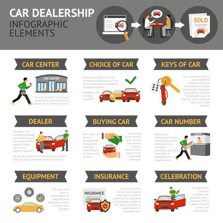 dealership: Car dealership infographics set with auto sale symbols vector illustration