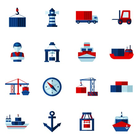 vessel: Seaport flat icons set with container tanker vessel loader isolated vector illustration Illustration