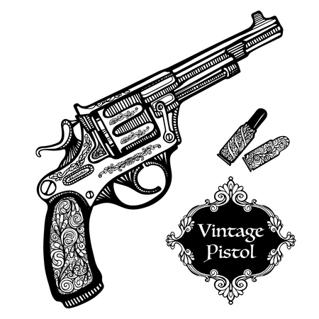 hand gun: Hand drawn retro Pistols in vintage style with cartridges isolated  vector illustration