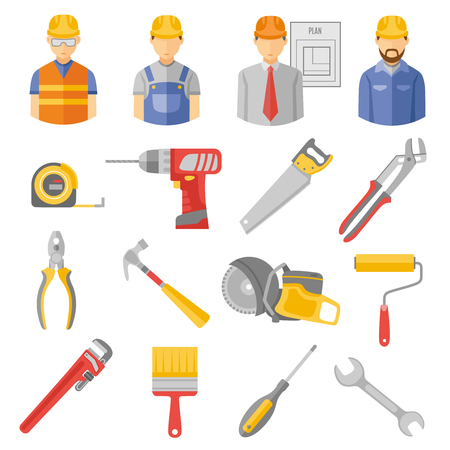 project manager: Construction and renovation flat icons set with work project manager and carpentry tools abstract isolated vector illustration