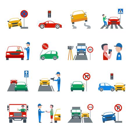 manejando: Tráfico y violación conducción iconos planos conjunto aislado ilustración vectorial Vectores