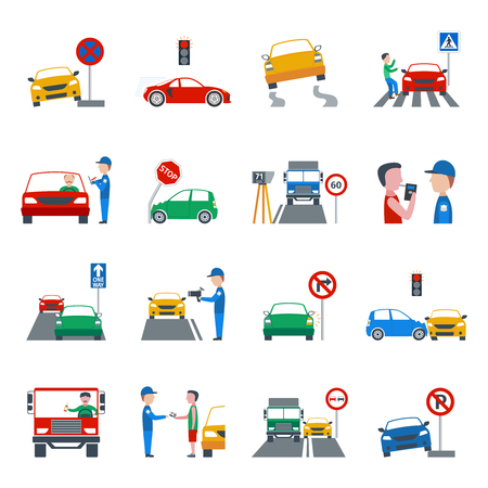 security uniform: Traffic and driving violation flat icons set isolated vector illustration Illustration