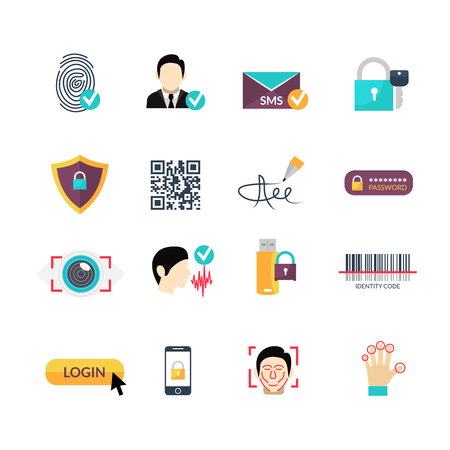 verification: Secure identity verification code and safety management electronic systems symbols flat icons set abstract vector isolated  illustration