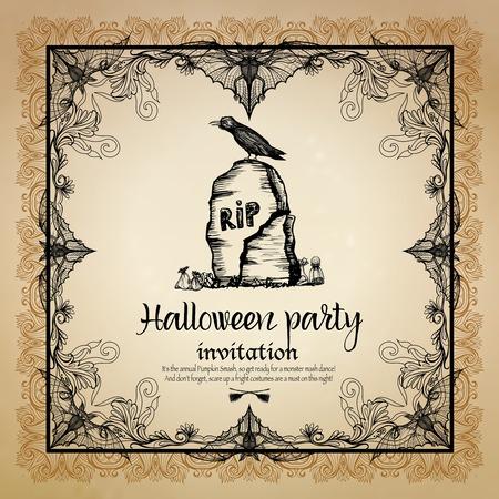 Halloween vintage invitation with hand drawn ornamental frame vector illustration Illustration
