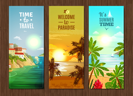 Travel agency paradise vacation vertical banners set with tropical island coastal village cottages flat abstract vector illustration