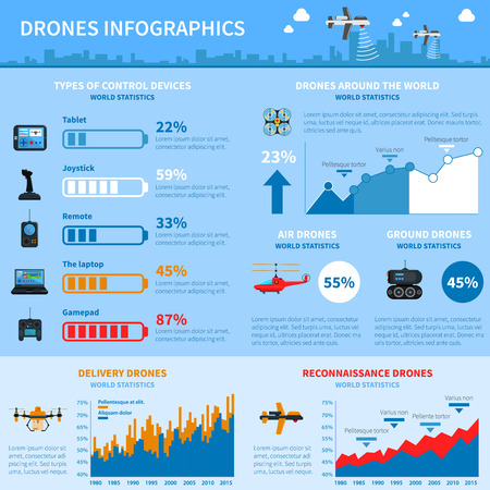 operations: World statistics of drones deployment for special operations and civil applications  infographic chart layout abstract vector illustration