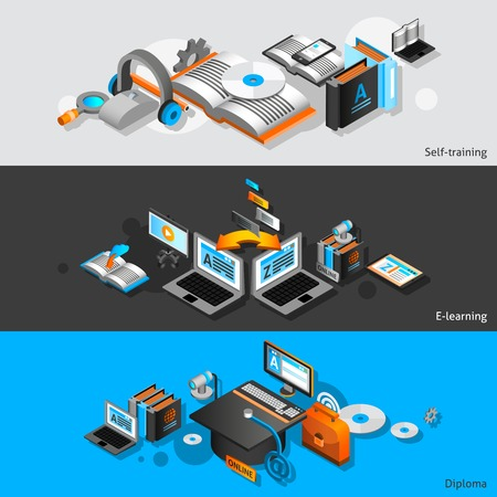 learning online: E-learning horizontal banners set with self training and diploma isometric elements isolated vector illustration