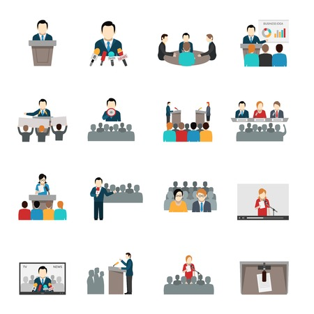 business meeting: Public speaking politician businessman and teacher flat icons set isolated vector illustration Illustration