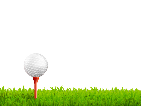 golf clubs: Golf realistic background with ball on a tee and green grass vector illustration