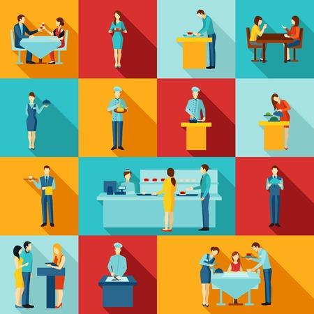 Catering pictogrammen met mensen en personeel vlakke geïsoleerde vector illustratie. Stock Illustratie