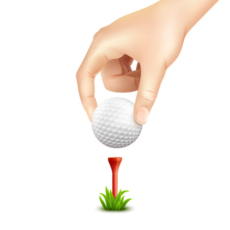 putting: Hand putting a golf ball on a tee realistic background vector illustration