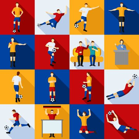 commentators: Soccer icons set players  judges commentators and fans flat  isolated vector illustration. Illustration