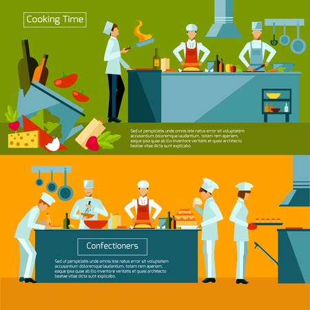 chef uniform: Cooking horizontal banner set with restaurant chef and assistant silhouettes isolated vector illustration