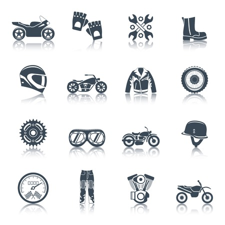 helmet: Motorcycle icons black set with transportation symbols isolated vector illustration