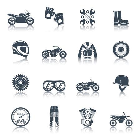 casco moto: Motos iconos conjunto negro con símbolos de transporte aislado ilustración vectorial Vectores