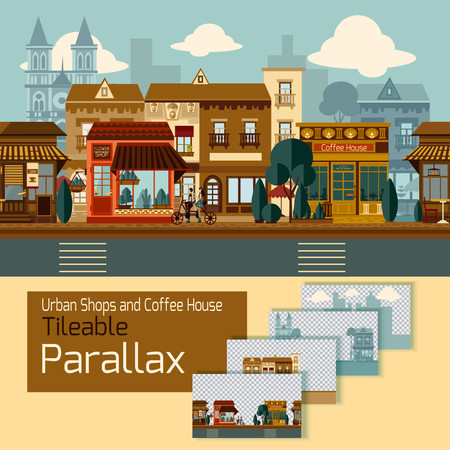 layers: Shops tileable parallax with buildings on different layers vector illustration