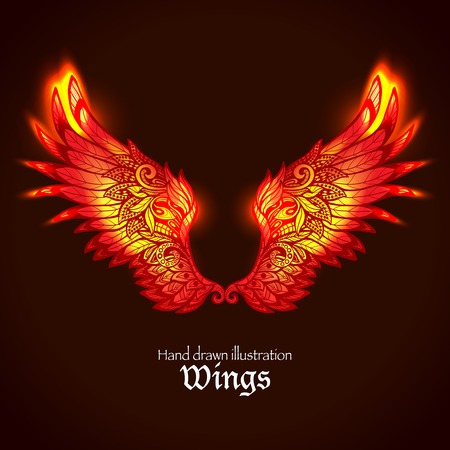 bird icon: Red and yellow bright glowing ornamental wings in fire hand drawn vector illustration