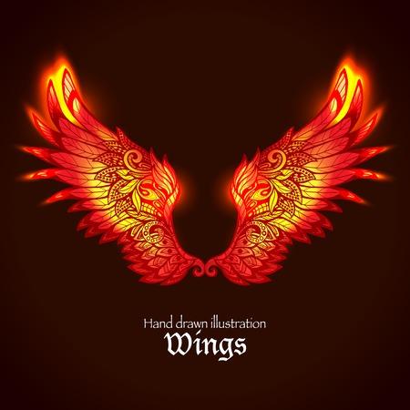 Rode en gele heldere gloeiende sier vleugels in brand hand getekende vector illustratie