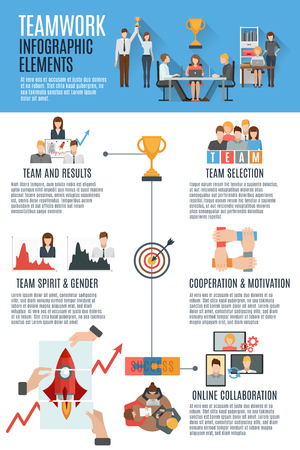 Effective teamwork management strategies for great success informative text with flat pictograms infographic banner abstract vector illustration Illustration