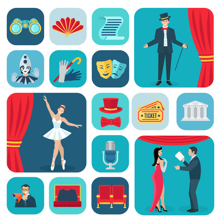 drama: Theater icons flat set with actors and decoration symbols isolated vector illustration