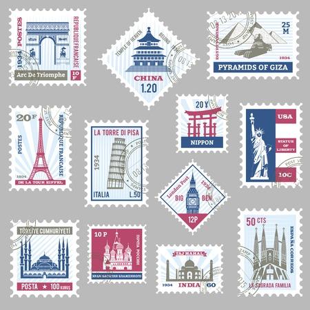 timbre voyage: Les timbres-poste établis avec des sites célèbres du monde isolé illustration vectorielle Illustration
