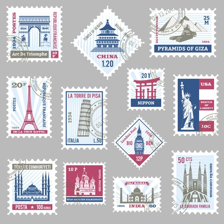 postage stamps: Postage stamps set with world famous landmarks isolated vector illustration