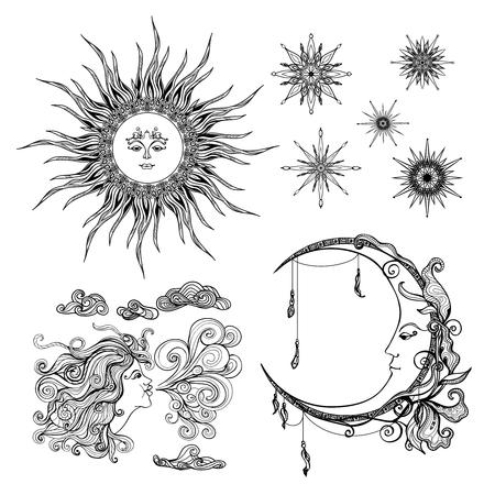 sol y luna: Cuento de hadas de la luna del sol del estilo y de viento símbolos antropomórficas establece la ilustración del vector aislado