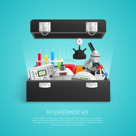 school kit: Science realistic set with chemical lab equipment 3d vector illustration Illustration