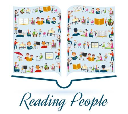 本形状のベクトル図に設定アイコンの人を読んで概念を読む