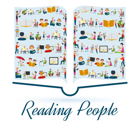 lectura: Concepto de la lectura con la lectura de la gente en el set de iconos de ilustración en forma de vector de libro