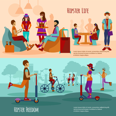 university students: Hipster people horizontal banner set with youth style elements isolated vector illustration Illustration