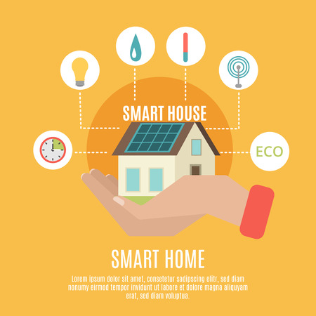 house energy: Smart home household remote control concept poster with house on human hand symbol flat abstract vector illustration Illustration