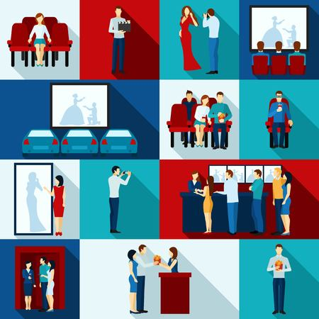 cinematography: Cinematography  icons with  auditorium people watching film service personnel   flat  isolated vector  illustration.