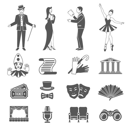 acting: Theatre art and acting black icons set isolated vector illustration Illustration