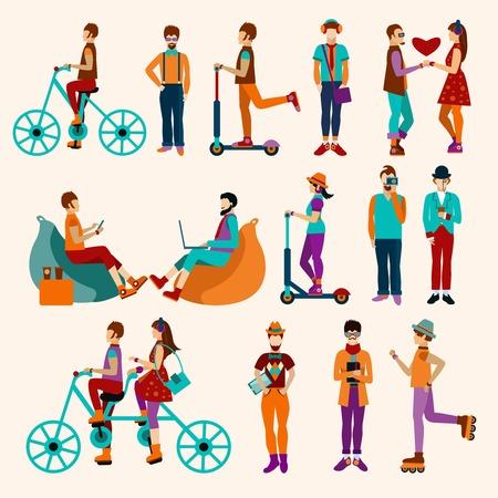 bicyclette: Personnes Hipster ensemble plat avec les jeunes hommes et les femmes � la mode avatars actifs isol�s illustration vectorielle Illustration