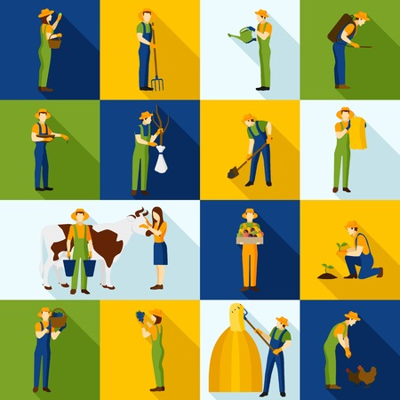 working animals: Working farmers and gardeners flat agriculture color  icons set  isolated vector illustration. Illustration