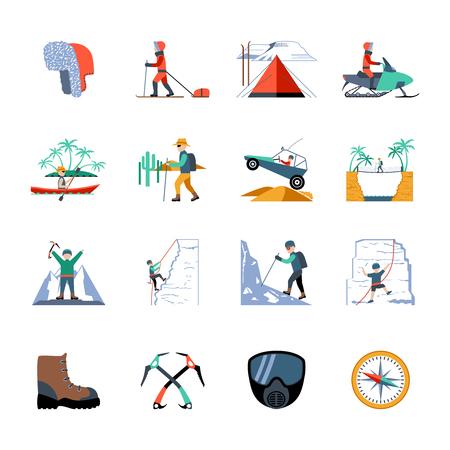 Expeditie wandelen en bergbeklimmen pictogrammen instellen geïsoleerd vector illustratie