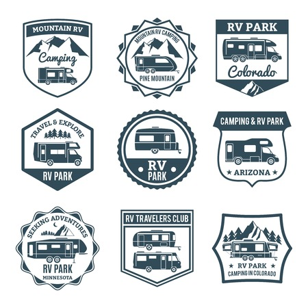 Recreational vehicle for camping and travel emblems set isolated vector illustration
