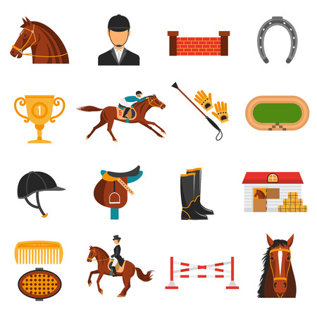 Płaskie kolorowe ikony zestaw z wyposażeniem do jazdy konnej izolowane ilustracji wektorowych.