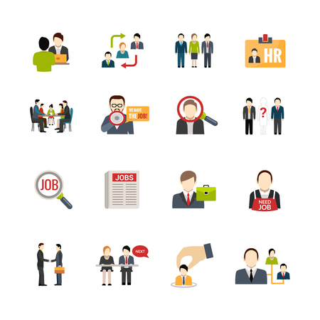 recruiting: Recruitment icons set with people searching jobs isolated vector illustration