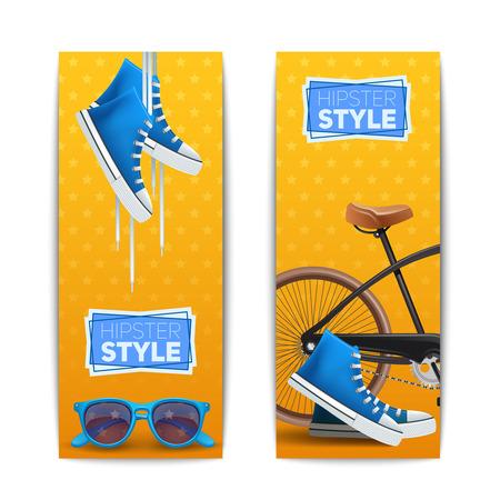 mujeres fashion: Conjunto de la bandera vertical, inconformista con Gumshoes gafas y la ilustración vectorial aislado bicicleta